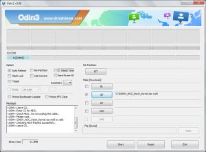 Odin v3.09 configured to install Ni2 firmware.
