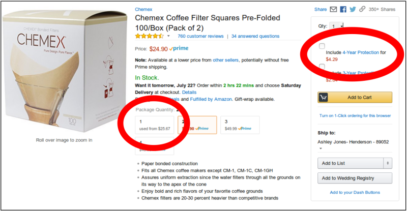 Amazon Coffee Filters: Sold used AND with 4 year protection plan