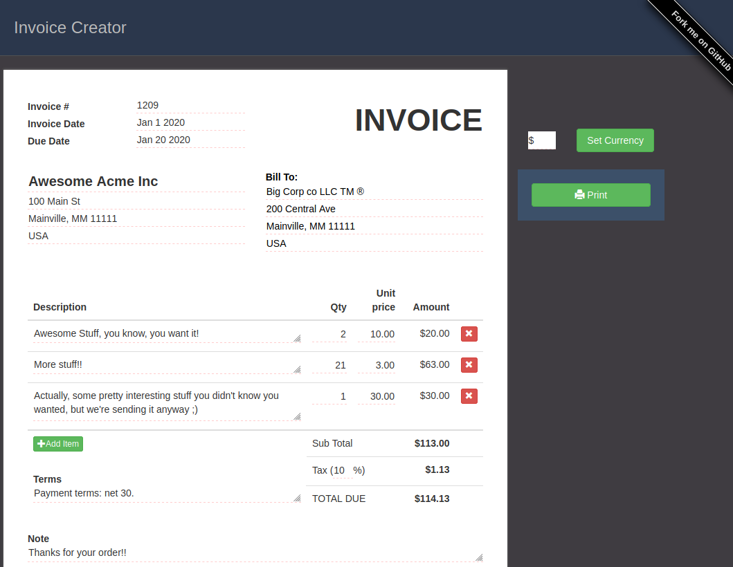 The one page invoicing web app I didn't write